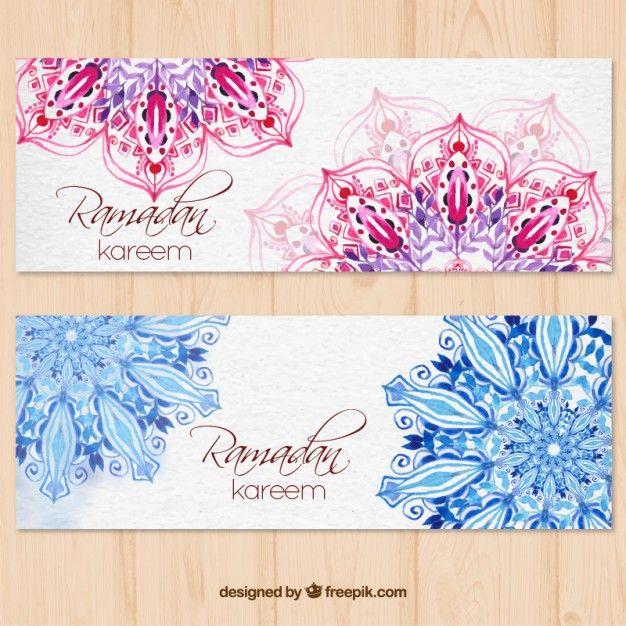 Banners de acuarela de feliz ramadan con mandalas Vector Gratis