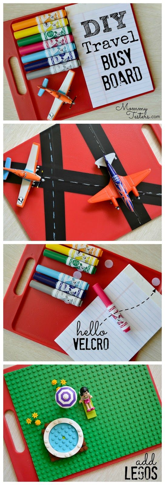DIY Travel Activity Board - made with an inexpensive cutting board and is perfect for travel with kids.  Has coloring and LEGO activites.