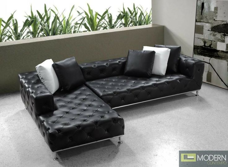 Black Tufted Leather Low Back Sectional Sofa Http Moderncontempo Com