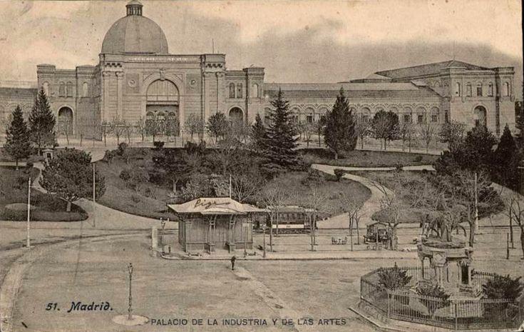 Imágenes del viejo Madrid. Palacio de la Industria y de las Artes, anterior a 1910. J. Lacoste. Tarjeta postal. Museo de Historia (Madrid)