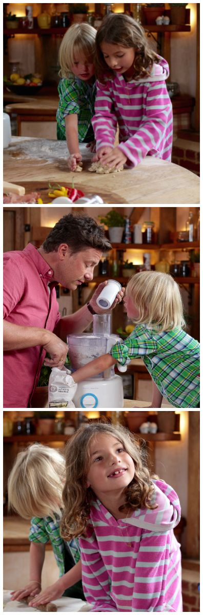 Watch Jamie Oliver cook up a Quick Family Pizza with two of his favourite helpers.