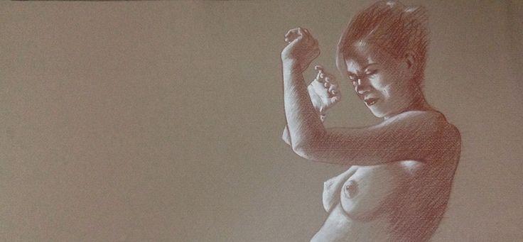 """Susy Saulle """"glare"""" contemporary figurative drawing"""