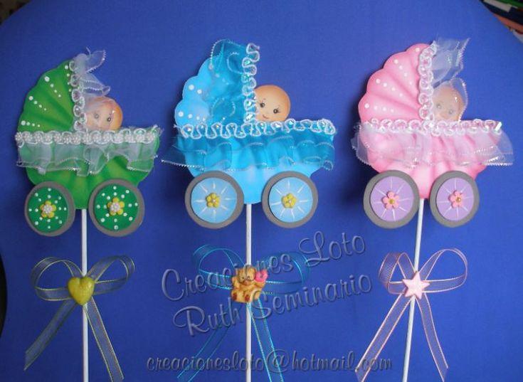 Adornos para baby shower de niña con goma eva - Imagui