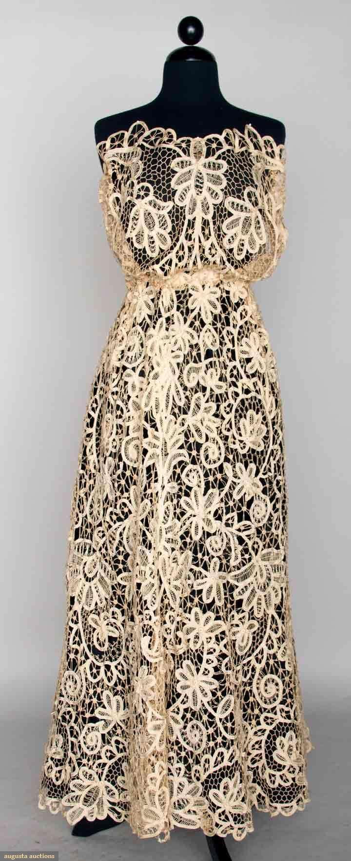 Battenburg Lace Empire Dress, C. 1908, Augusta Auctions, November 13, 2013 - NYC