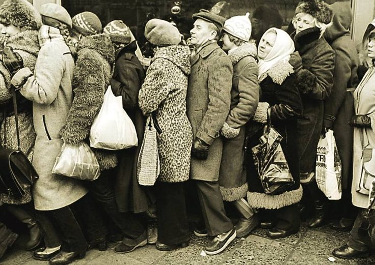 """""""Shop Queue in Communist Poland""""  Poland, early 1980s"""