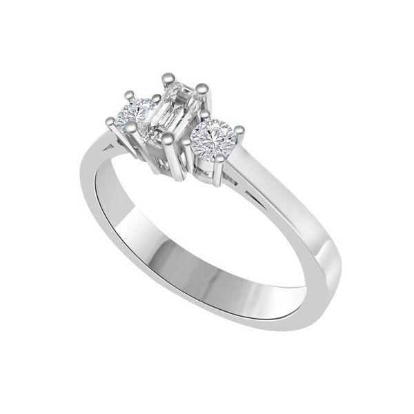 ANELLO TRILOGY CON DIAMANTI 18CT ORO BIANCO | Anello Trilogy con Diamante centrale Taglio smeraldo e Diamanti Laterali Taglio brillante. Il peso totale dei carati per questo anello e` disponibile da 0.30ct a 1.00ct, con il diamante centrale che varia da 0.14ct a 0.40ct e laterali da 0.16ct a 0.60ct. Il diamante centrale e` taglio brillante e i due diamanti laterali sono taglio a goccia montati a griffe. Tutti i diamanti sono disponibili in H, G ed F colore e in VS1 ed SI1 purezza.