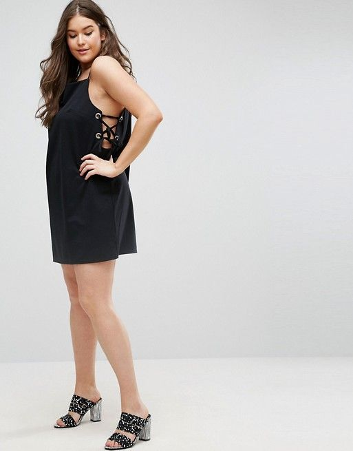 ASOS CURVE Mini Dress With Lace Up Eyelet Waist