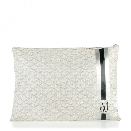 This is an authentic GOYARD Chevron Senat Pochette GM in White. This charming pochette is crafted of goyardine coated canvas with its signature chevron pattern with a monogrammed M, trimmed with black and silver stripes.