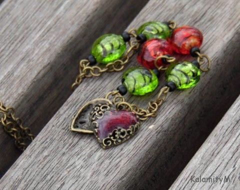 Red Tulip - náhrdelník z vinutek náhrdelník dárek zlatá zelený příroda vinutky červený valentýn tulipán