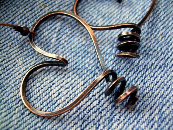 Simple, elegant - I love it! Heart Hoop Earrings Wire Wrapped Jewelry by KiawahCollection, $17.75