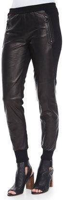 Vince Knit/Leather Combo Jogger Pants - Shop for women's Pants - BLACK Pants
