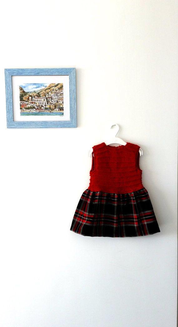 Abito scamiciato scozzese da bimba vestito smanicato di VereV