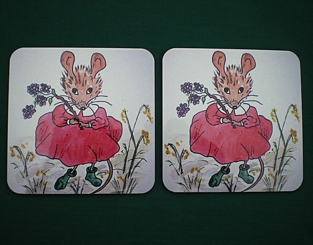 Coasters,Mouse scene on wooden coasters,From my watercolour painting, W 002