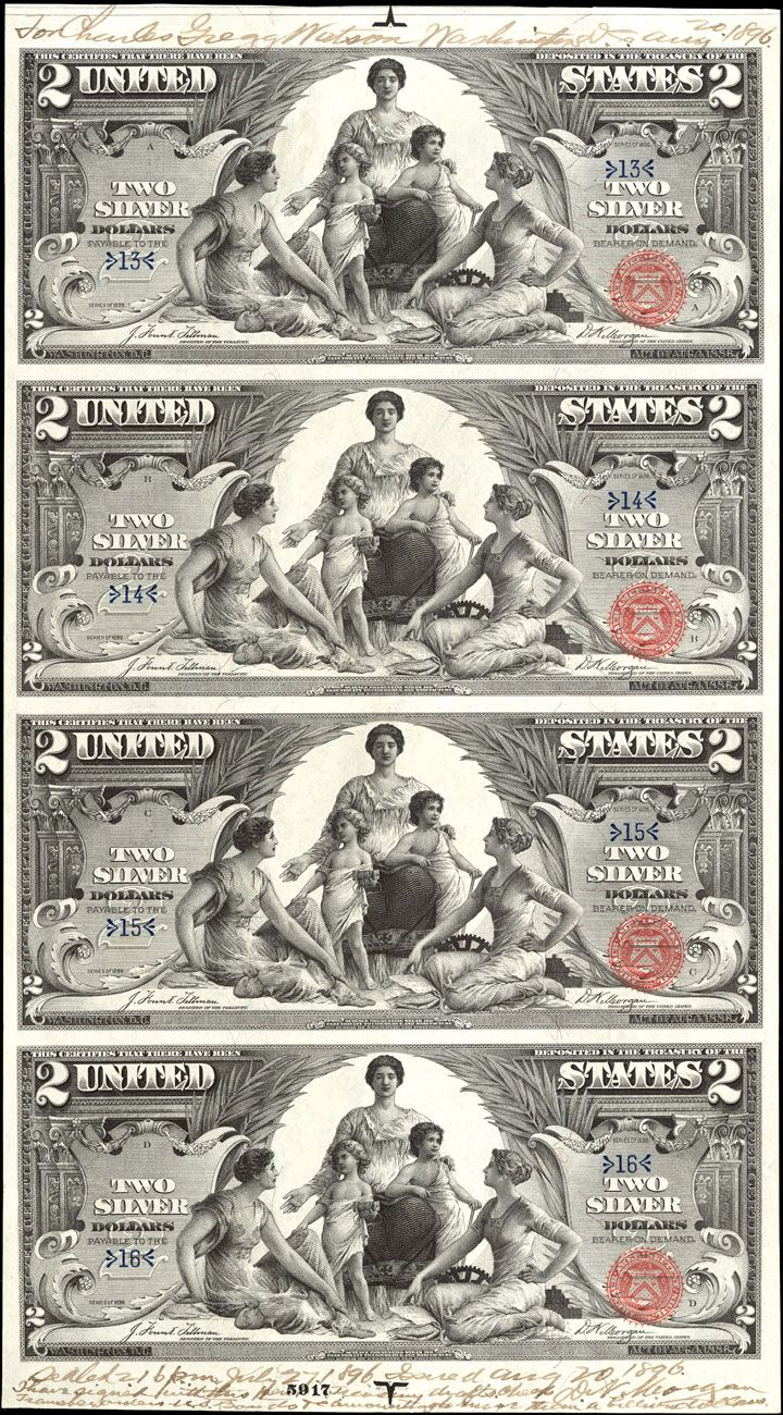US 2 Dollar Note Series 1896 Serial#s 13-16 Signatures: Tillman / Morgan Science presenting Steam & Electricity to Commerce & Manufacture Portraits: Robert Fulton & Samuel F. B. Morse FR-247