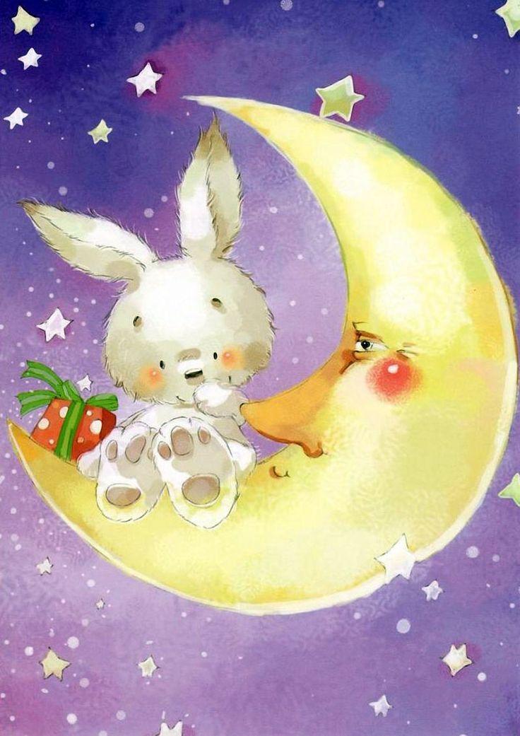 Картинки днем, открытки с зайчиками спокойной ночи