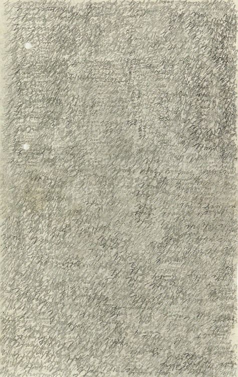 Letter written by Emma Hauck to her husband while in a psychiatric hospital. The words sweetheart come ('Herzensschatzi komm'), are written over and over filling the surface of the paper. 1909