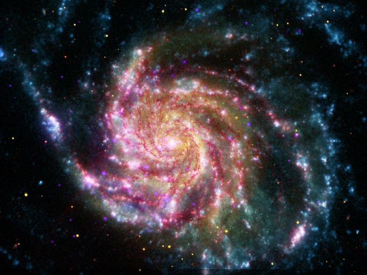 This image of the Pinwheel Galaxy, also known as M101, combines data in the infrared, visible, ultraviolet and X-rays from four of NASA's space-based telescopes. This multi-spectral view shows that both young and old stars are evenly distributed along M101's tightly-wound spiral arms.