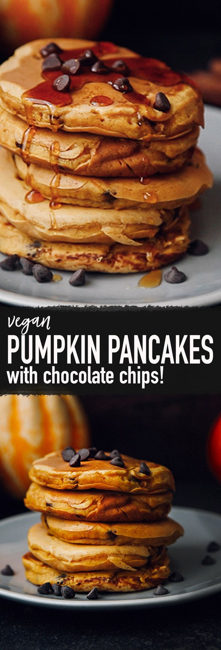 Fluffy Pumpkin Chocolate Chip Pancakes (Vegan)