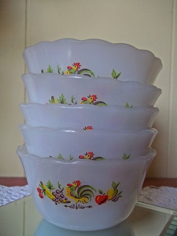 """Fire-King/Anchor Hocking custard cups in the popular """"Chanticleer"""" pattern."""