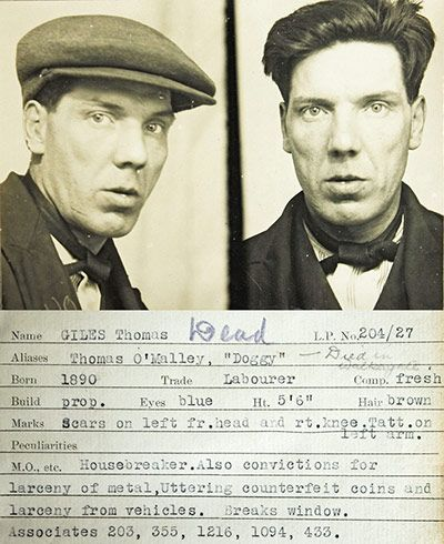 1930s Police mugshots: A mug shot from a police identification book