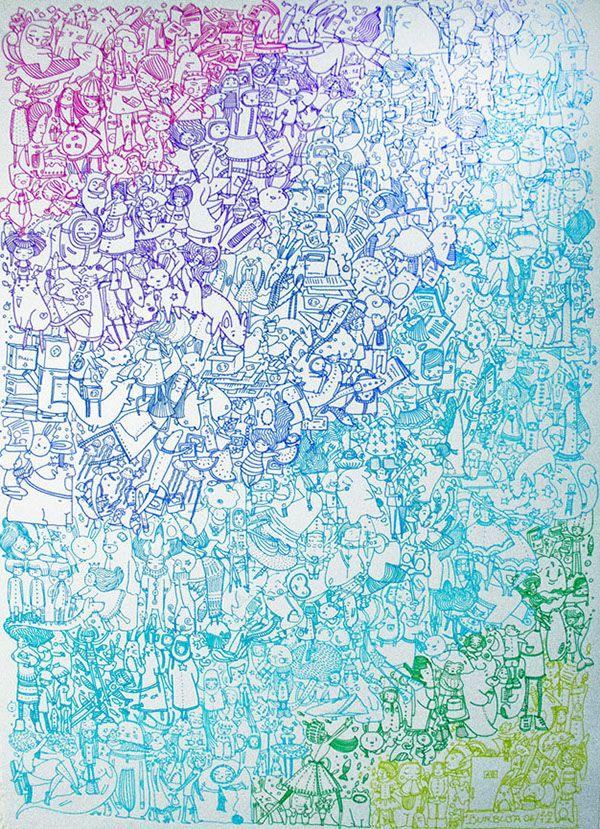 """""""Inicio"""". Ilustración realizada con microfibras de colores. Tamaño 50 x 70 cm. Para la exposición """"50 mujeres muestran: Metamorfosis"""", Centro Cultural C' est la Vie, La Plata. Junio 2012. Organizada por Cecilia Castillo."""