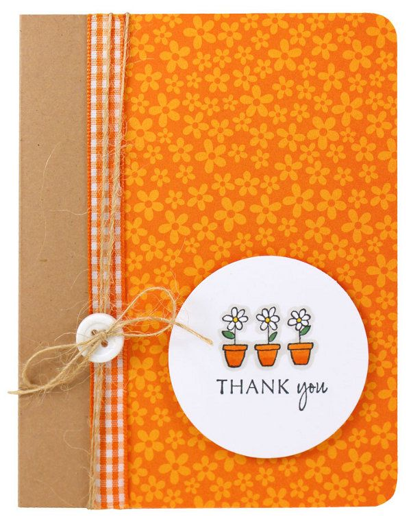 Tangerine Flowers Thank You Card