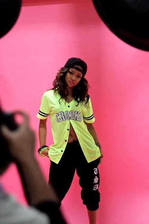 Crooks Baseball Jersey. Neon. Snapback. Sweatpants. Swag Girl. Dope. Hip Hop Fashion. Hip Hop Outfit. Urban Fashion. Thug Style. Karrueche Tran Style