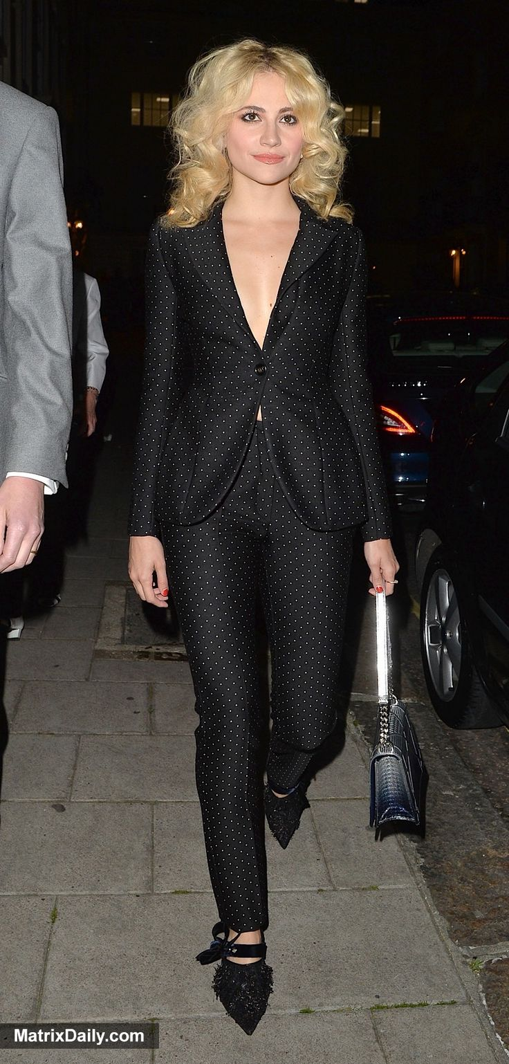 Matrix Daily Spot the West End star: Pixie Lott lets her hair down after a performance as Holly Golightly in Breakfast At Tiffany's,  #bedhead #blazer #cigarette #curly #dots #hair #HollyGolightly #night #out #pants #PixieLott #polka #polkadot #suit #trousers