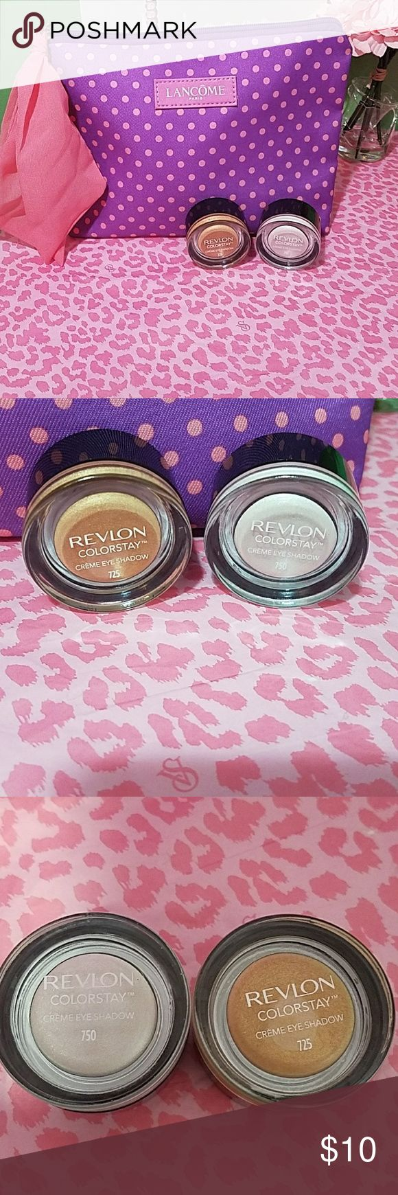 💜Revlon Color Stay Bundle💜 Creme Eye shadow #750/#725 New.  Opened but nvr used Cosmetic Bag included Price is Firm Revlon Makeup