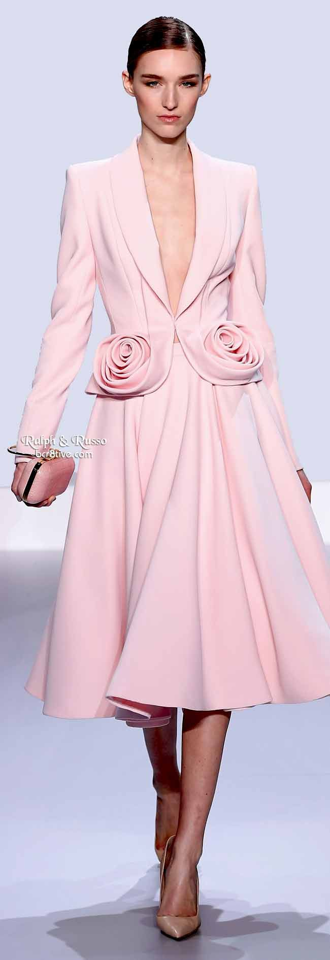 Ralph & Russo Spring 2014 HC | Pale pink silk wool jacket with rosette and flared skirt