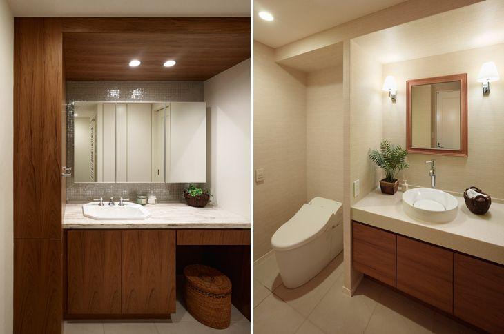 (写真左)天井や壁、収納扉はチークを貼って他のエリアとテイストを統一 (写真右)ゲスト専用のパウダールームも、ホテルライクな雰囲気に