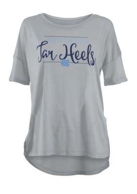 Royce Girls' Unc Tar Heels Hip Script Short Sleeve Tee Shirt - Gray - Xl