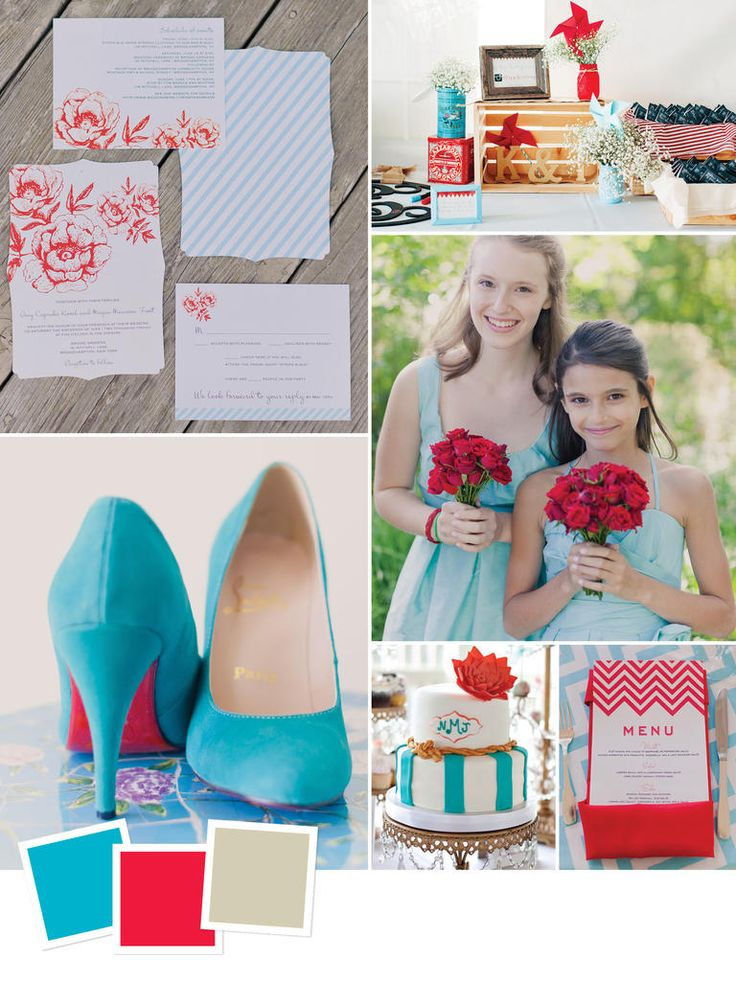 Aqua + Cherry Red + Khaki | 15 Wedding Color Combos You've Never Seen | https://www.theknot.com/content/wedding-color-inspiration-boards