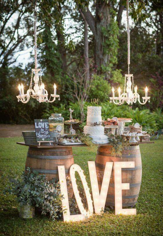 "Love wine barrels and the lit ""love"""
