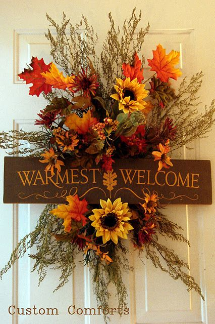 warmest welcome wreathThe Doors, Fall Decor, Doors Decor, Welcome Signs, Fall Doors, Front Doors, Fall Wreaths, Fall Porches, Autumn Wreaths