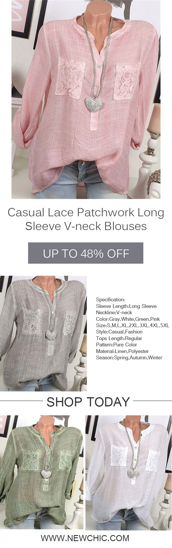 [Newchic Online Shopping] 48%OFF Women's Casual Lace Patchwork Blouses with Long Sleeve and V-neck #blouse #womenswear #womensfashion
