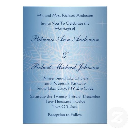 Blue Light Snowflake Winter Wedding Invitation 3 This Features A Background With