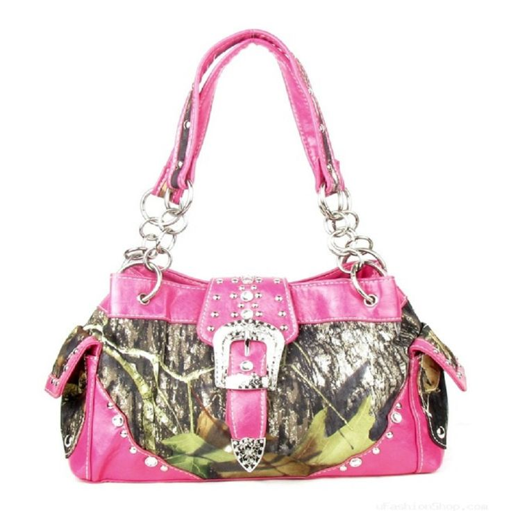 Handbags, Bling & More! Western Pink Camouflage Buckle Rhinestone Purse : Camouflage Purses