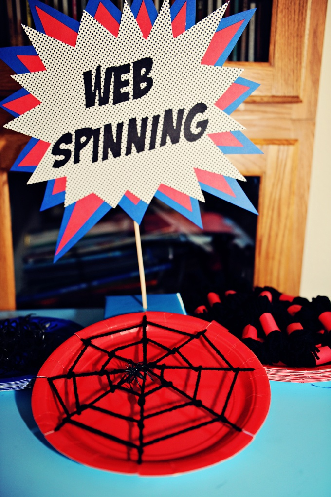 "Super hero day - ""WEB SPINNING"" was a fun, indoor craft activity,"