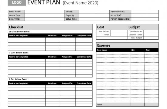 ms excel event or party planner