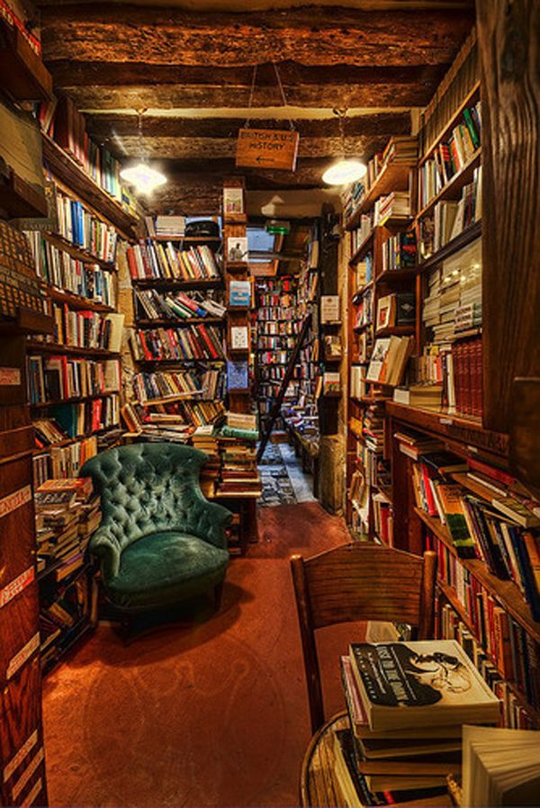 This is probably my favorite I've encountered.  It looks so cozy and dim and crowded with books,  just how I would like it.  I could get lost for hours in a place like that.  Needs room for a roaring fireplace somewhere away from the books though