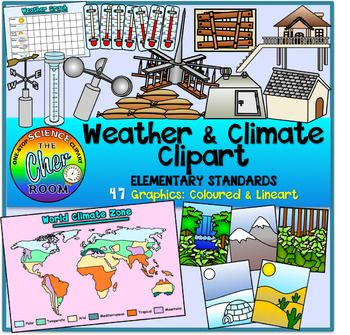 You'll be getting 47 graphics (24 coloured, 23 lineart) of the following to teach Weather and Climate at elementary level:Climate Zone World MapClimate:MountainsDesertPolarTemperate ForestTropical ForestWeather Graphing:Weather GraphAnemometerWind VaneRain GaugeThermometer with different readingsDesign Solutions for Hazards:StiltsBoarded WindowsSandbagsLightning RodUnderground ShelterThere is a also a very comprehensive bundle for weather and climate designed for kindergarten standards…