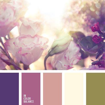 color blanco sucio, color verde oliva, colores pastel, combinación de colores para boda, elección del color, oliva y rosado, rosado pálido, tonos cálidos de colores rosado y violeta, tonos rosados, tonos suaves, tonos violetas.