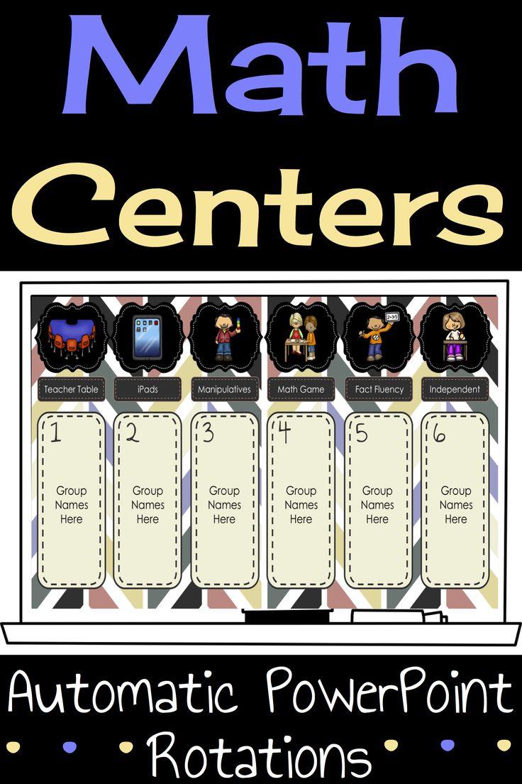 Math Center Rotation Automatic PowerPoint for the classroom. #teacherspayteachers #mathcenters
