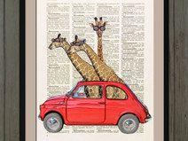 Giraffa illustrazione, stampa, pag.dizionario, #11