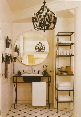 Small Chandeliers For Bathroom: round mirror in the bathroom,Lighting