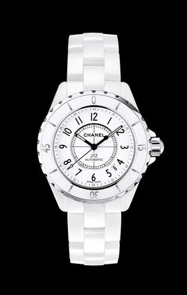 J12 - CHANEL This watch is so beautiful designed so well. I have looked at so many watches like this. I settled for a white ceramic watch a few years ago and it did not sit well, or look like this snow white piece you are looking at here. One of these days. I am always petrified that Chanel will stop making them. Especially this one.