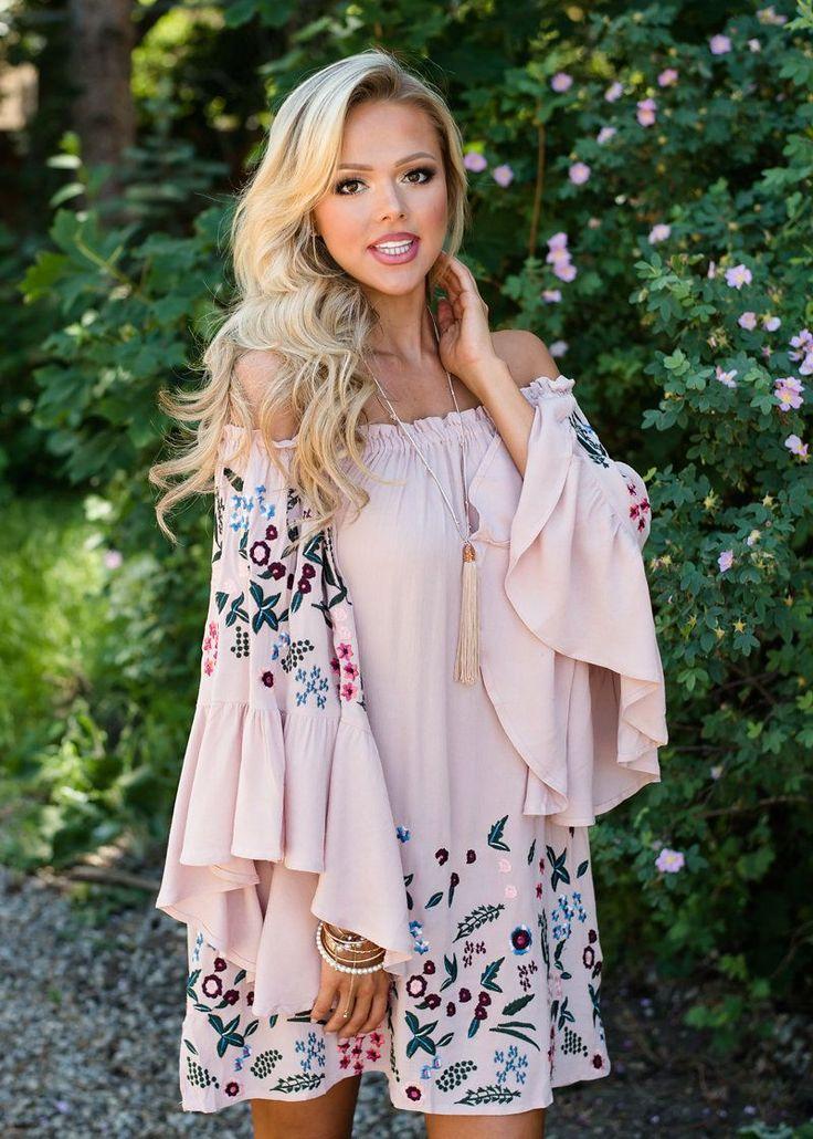 Boutique, Online Boutique, Women's Boutique, Modern Vintage Boutique, Dress, Pink Dress, Off The Shoulder Dress, Long Sleeve Dress, Floral Dress, Cute, Fashion