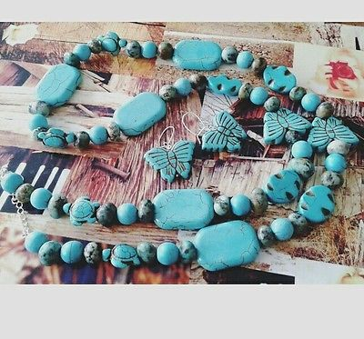 Semiprecious turquoise beads jewelry set with sterling silver 925 accesories
