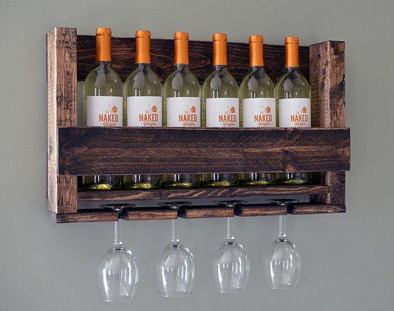 Wine Rack Rustic Modern Wine Glass Holder di RchristopherDesigns